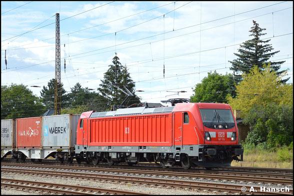 """Mit """"Kistenzug"""" rollt 187 175-5 am 2. September 2020 durch Leipzig-Wiederitzsch"""