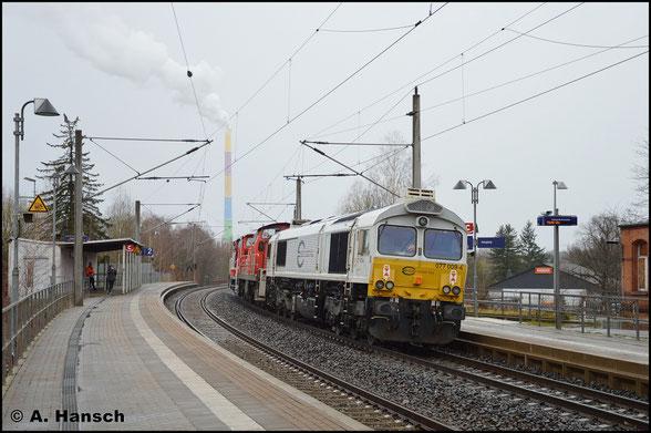 077 009-4 wird am 11. März 2020 in einem Lokzug von Dresden nach Nürnberg gefahren. Am Hp Chemnitz-Hilbersdorf klickte der Auslöser