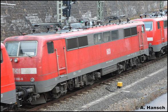 111 018-8 wird am 7. März 2020 in einem Lokzug von Nürnberg zur z-Stellung nach Leipzig-Engelsdorf gefahren. In Chemnitz Hbf. konnte ein Bild der Lok angefertigt werden