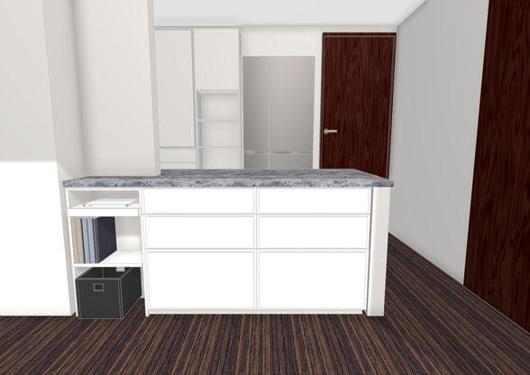 キッチンカウンター下 スペース 収納家具 オーダー家具