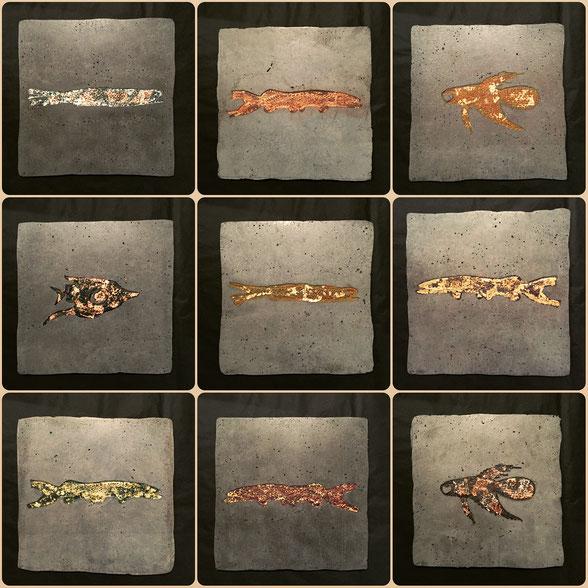 """Carré de 9 """"fossiles"""" de 30 x 30 cm - Empreintes de dentelles sur béton"""