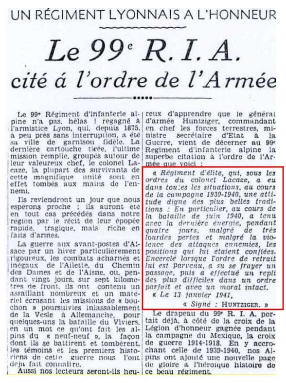 Article du Progrès de Lyon - 6 novembre 1941