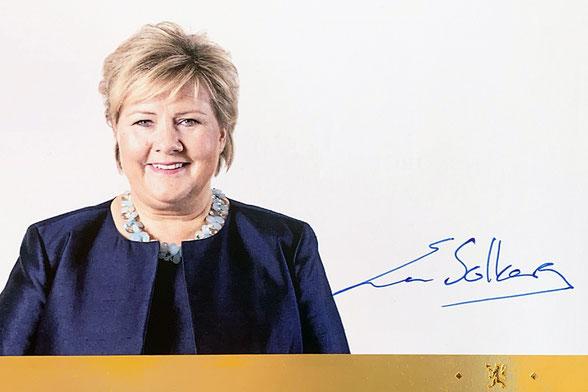 Autograph Erna Solberg Autogramm
