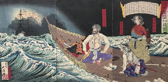Yoshitoshi Tsukioka, japanischer Holzschnitt, Ukiyo-e, woodcut, japanese art, The suicide of Saigo Takamori