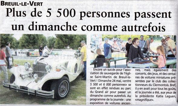 03 juin 2015 - Oise Hebdo - Plus de 5500 personnes passent un dimanche comme autrefois à Breuil le Vert.
