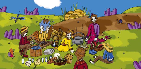 La famille des fermiers du livre Le dragon qui créa le pop-corn paru chez Pixygraph' Editions