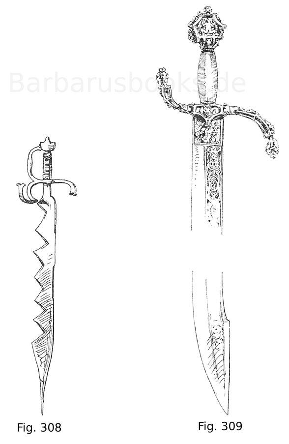 Venezianisches Marineschwert mit sägeförmiger Klingenschneide und Courtelas (coltellagio) mit Griff aus geschnittenem Eisen.
