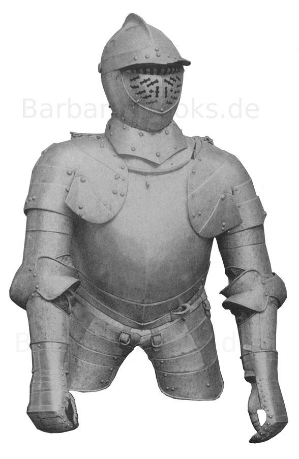 Rüstung mit unten geschobener Brust. Die Helmmaske durchbrochen und von einem daran sitzenden Augenschirm überragt. Ende 16. Jahrhundert.