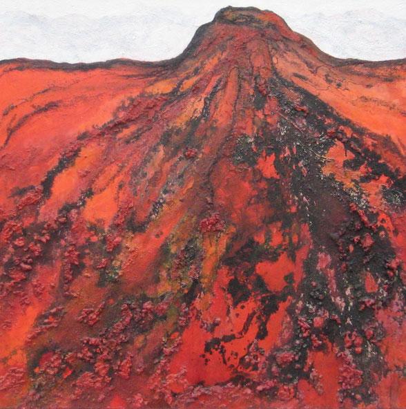 Aus der Reihe: Berge aus Acryl, 100 x 100 cm, Spachtelmasse, Tusche, Acrylfarbe