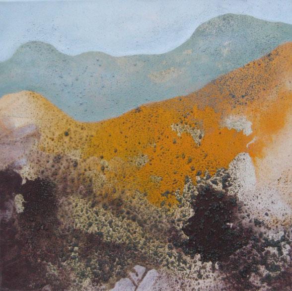 Aus der Reihe: Berge aus Acryl, 50 x 50 cm, Urgesteinsmehl, Acrylfarbe und Pigmente