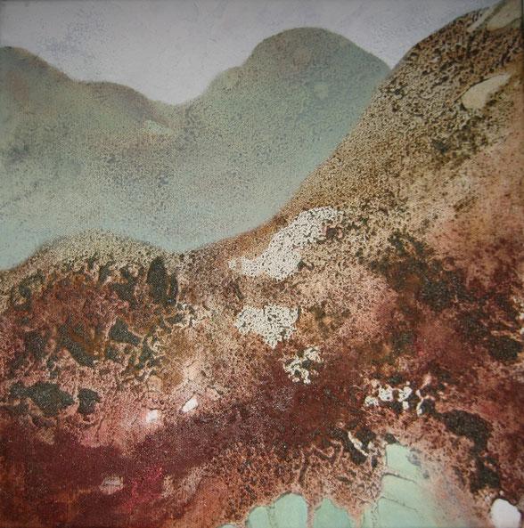 Aus der Reihe: Berge aus Acryl, 40 x 40 cm, Urgesteinsmehl, Acrylfarbe und Pigmente