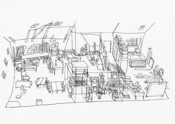 Atelier Wachsbleichstraße . 2015 . Bleistift auf Papier . 15 x 21 cm