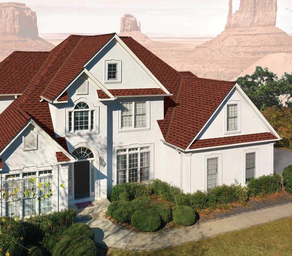 Dom pokryty gontem, gont, gonty, GAF, Timberline HD w kolorze Patriot Red