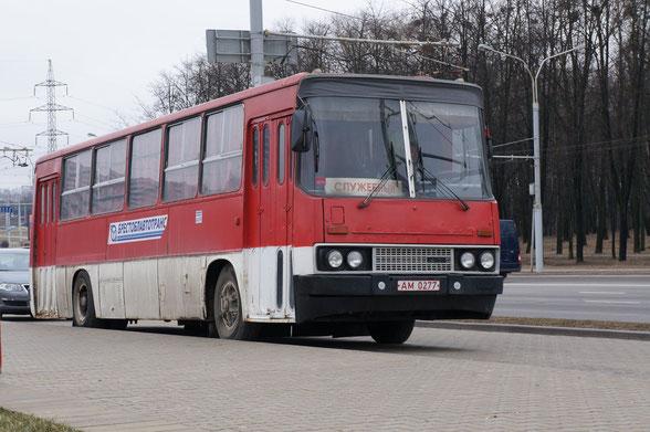 Автобус Ikarus 260.37. Переделан в условиях АП в грузопассажирский вариант. Минск. 05.04.2012