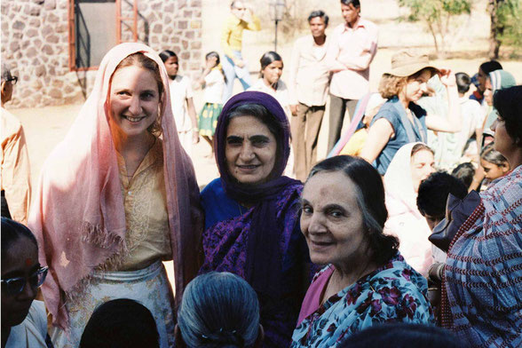 U.Meherabad, India - Susan standing with Meheru and Mehera Irani