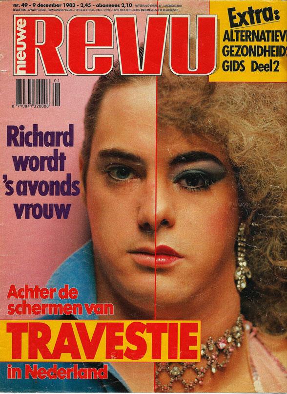 Eerste travestie artiest op een Nederlands gezinsweekblad ooit ! december 1983