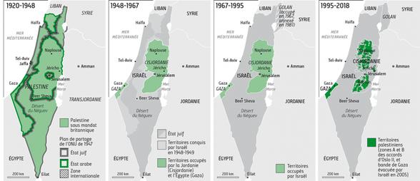 Evolution géographique de l'Etat d'Israël - Cliquer pour agrandir