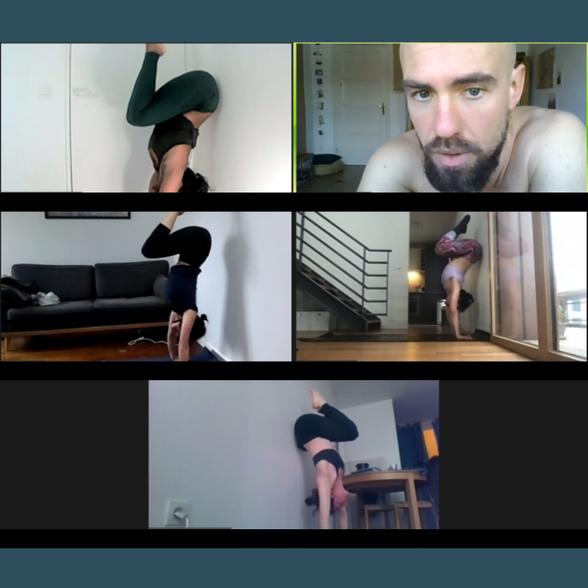Cours de handstand sur zoom - theo philosport