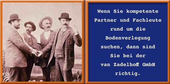 Vier Männer mit Spruch aus dem vergangenen Jahrhundert, bei dem per Handschlag ein Geschäft abgeschlossen wurde.