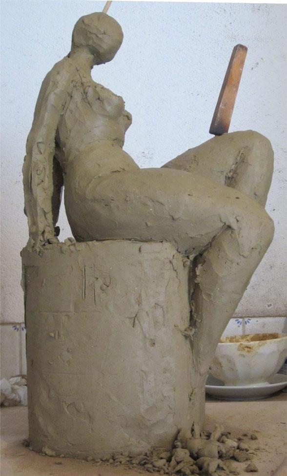 librement inspirée d'une sculpture de Rosa Serra.... tentative de sculpture stylisée.