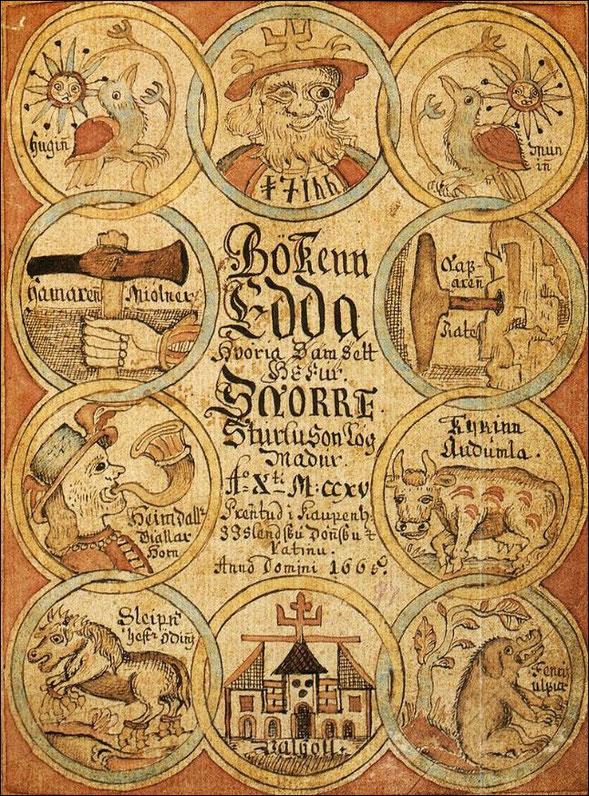 Titelblatt der Druckausgabe der Snorri Edda von 1666