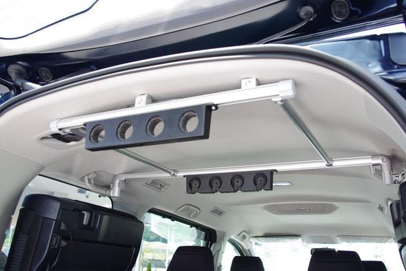 ディーラーカスタムショップのネッツトヨタ静浜ASKのVOXYヴォクシー、NOAHノア、ESQUIREエスクァイア(ミニバン)用のロッドホルダーは穴開け加工せずに装着できます。
