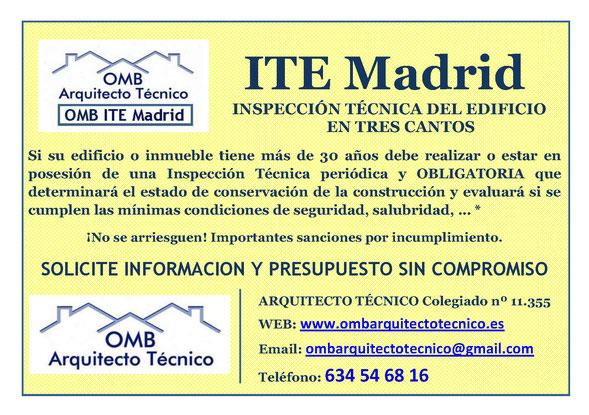 Inspección técnica de Edificos Tres Cantos - ITE Tres Cantos - OMB ITE Madrid - OMB Arquitecto Técnico