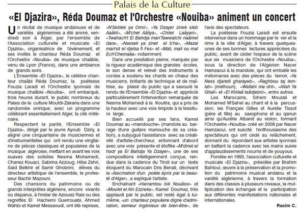 Article paru dans Le Jour d'Algérie, Dimanche 30 avril 2017