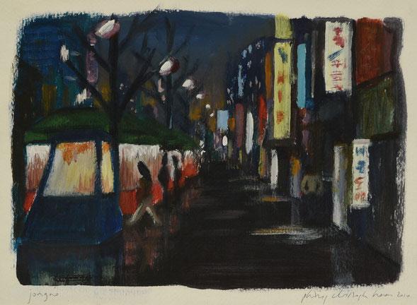 philipp christoph haas | [jongno], studie zur serie 'nachtRaeume', akryl auf papier, 2010