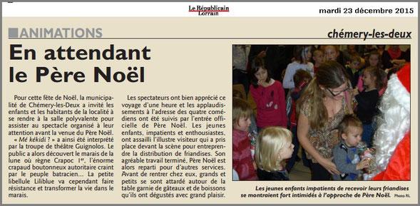 article de presse RL 11 décembre 2014 - spectacle jeunesse - compagnie théâtrale jeune public LES GUIGNOLOS - représentation CHEMERY-LES-DEUX - saison 2014/2015
