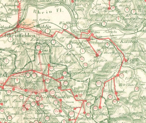 ein Ausschnitt aus der Karte in Emil Thürkaufs Dissertation über die Baselbieter Heimposamenterie (1908)