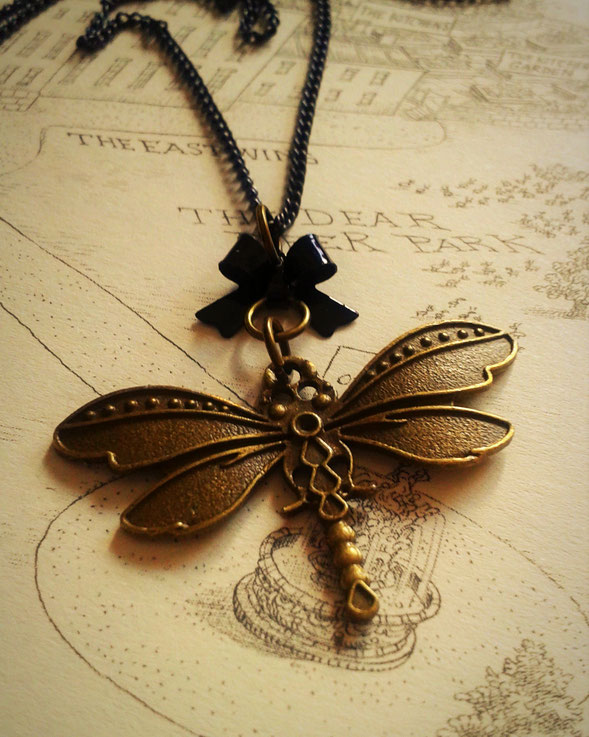 Steampunk Dragonfly Necklace with a Black Bow