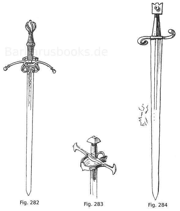 Fig. 282. Gemeines Reiterschwert mit einfachem Faustschutzbügel und Kreuzspangen. Die 112 cm lange Klinge wie die Fassung sind Mailänder Arbeit. Waffe der Kürisser des Kurfürsten Albrecht von Bayern, wie der auf der Klinge ins Gesenk geschlagene Rautensch