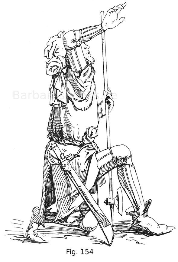 Fig. 154. Kriegsknecht im Lederharnisch mit eisernen Buckeln an den Mäuseln und Knien und dem Harnischröckchen darüber. Aus einem Altarbild der Auferstehung Christi in der Kunstsammlung des Chorherrnstiftes Klosterneuburg von 1476.