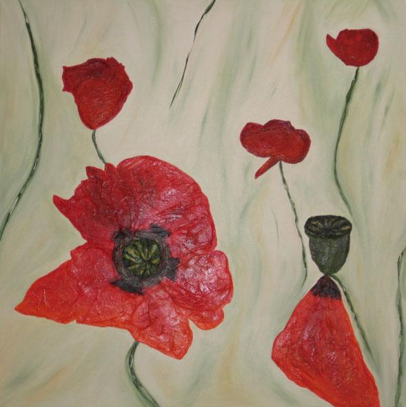 Mohn abstrakt 80 x 80 cm, Acrylfarbe, Seidenpapier, verkauft