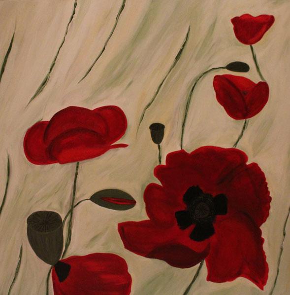 Mohn abstrakt, 100 x 100 cm, Acrylfarbe, verkauft