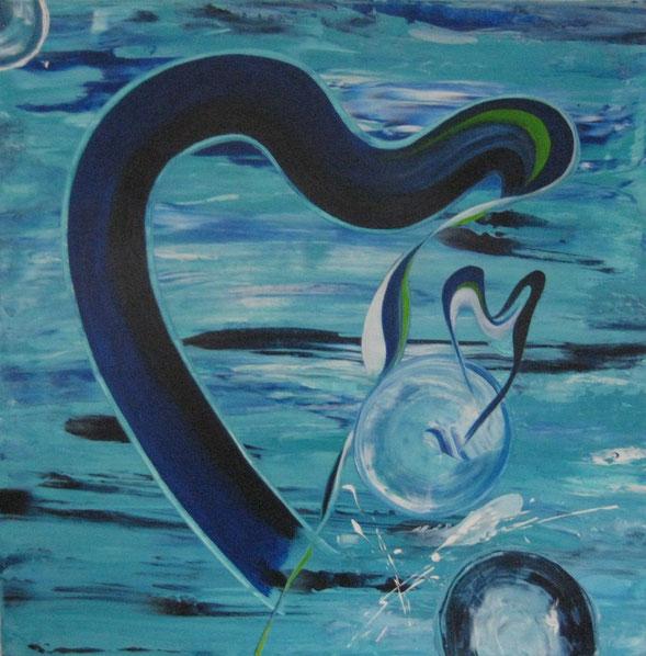 Blaue Herzen, 70 x 70 cm Acrylfarbe
