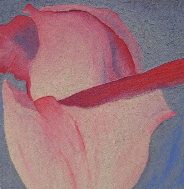 Rosenknospe abstrakt, 40 x 40 cm, Spachtelmasse, Acrylfarbe