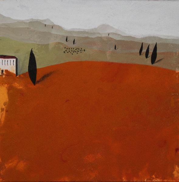 Aus der Reihe: Berge aus Acryl, 40 x 40 cm, Sand, Acrylfarbe