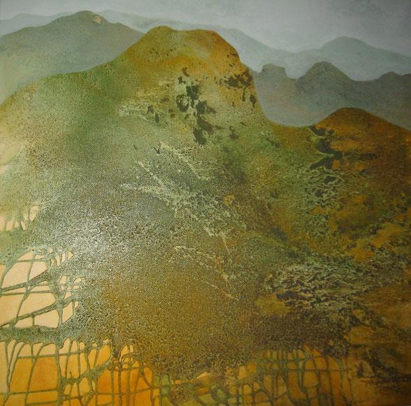 Aus der Reihe: Berge aus Acryl, 100 x 100 cm, Urgesteinsmehl, Acrylfarbe und Pigmente