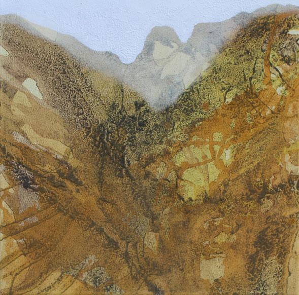 Aus der Reihe: Berge aus Acryl, 40 x 40 cm, Urgesteinsmehl, Acrylfarbe, Pigmente