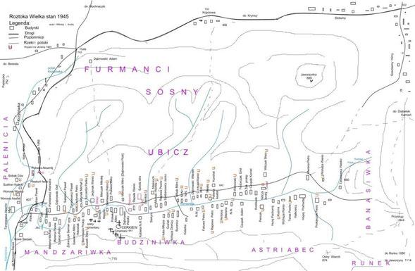 Plan Roztoki W. stan mieszkańców na 1945r