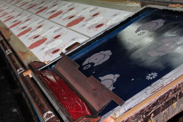 反物は型染めの京友禅、あまり見る事のできない染色工房のレポートは画像をクリック!