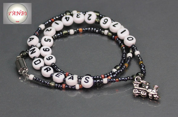 SOS-Kinderkette-Nr. T3-Zug-Namenskette-Telefonnummer-handynummer