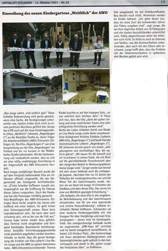 Amtblatt-Artikel zur Kita-Eröffnung vom 21.10.2021