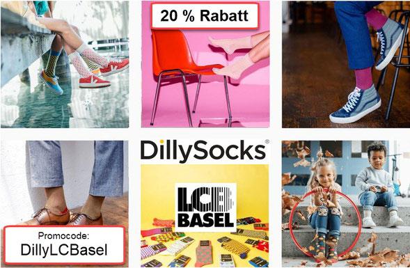 Mit dem Code DillyLCBasel bekommen LCB Mitglieder, aber auch deren Freunde, Bekannte und Verwandte im Onlineshop von DillySocks  20% Rabatt. DillySocks unterstützt den LC Basel mit einem Betrag pro Einkauf. Vielen Dank an unseren neuen Sponsor!