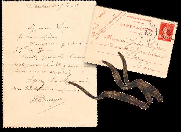 """Un habitant de la Barthe envoie des """"sangsues à 45 F le mille"""" à un pharmacien parisien, en 1909"""