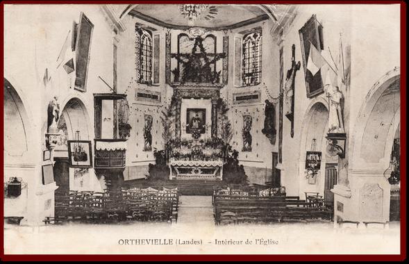 L'intérieur de l'église d'Orthevielle en 1912
