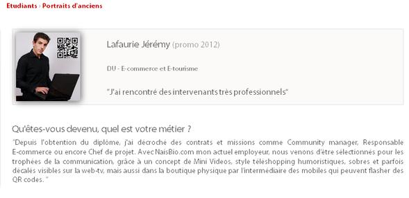 Jeremy community manager, chef de projet e-commerce CV