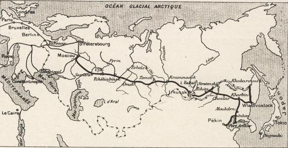 La ligne transsibérienne, 1904. Source : Wikipedia, Domaine public.